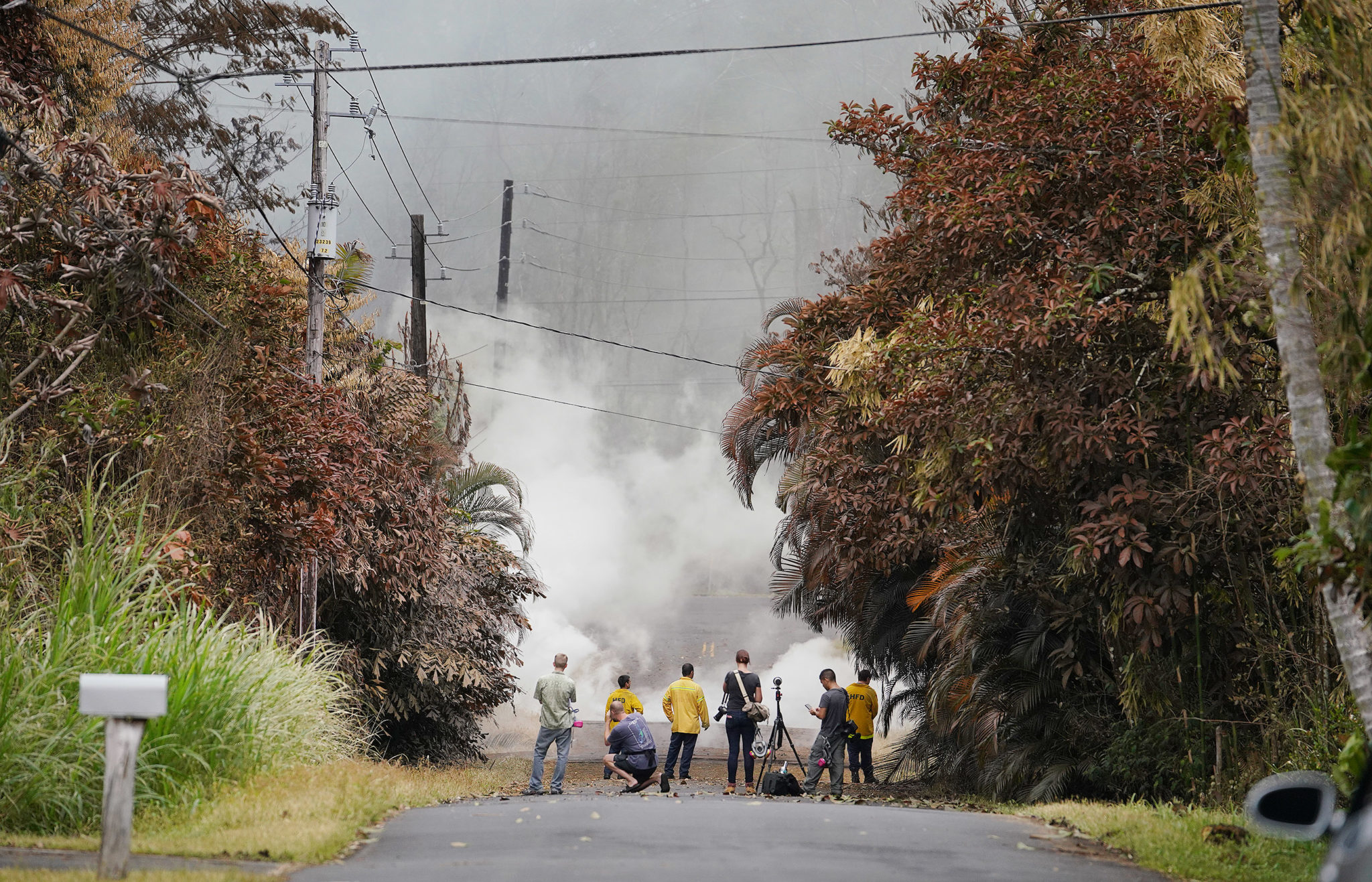 <p>The eruptions and release of sulfur  dioxide fumes poisoned trees in the Leilani Estates community. Moments earlier, an evacuation alert had been issued for the neighborhood.</p>