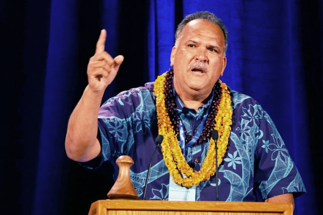 Lieutenant Governor Candidate Bernard Carvalho speaks at the 2018 Democratic Party Convention held at the Hilton Waikaloa Resort in Kona, Hawaii.