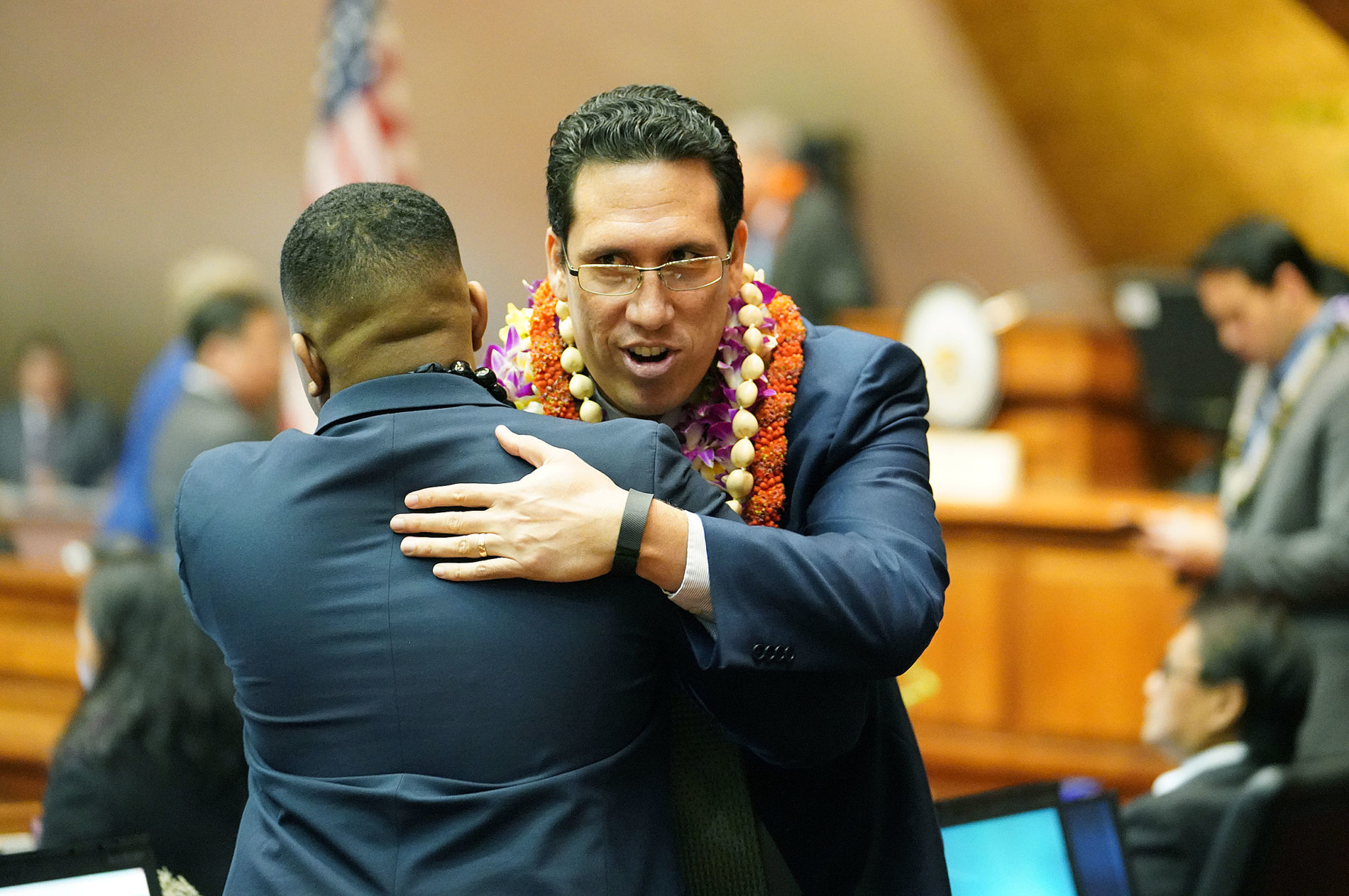 <p>Windward Oahu Rep. Jarrett Keohokalole gets a hug on his last day in the House — he&#8217;s running for the state Senate.</p>