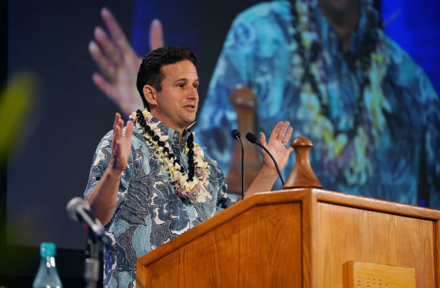 Senator Brian Schatz speaks during the 2018 Hawaii Democratic Convention held at the Hilton Waikaloa in Kona, Hawaii.