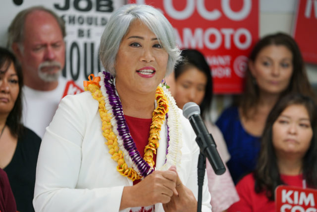 Lt Gov Candidate Kim Coco Iwamoto speaks during her press conference announcing the support of Local 5 endorsing her candidacy at their headquarters.