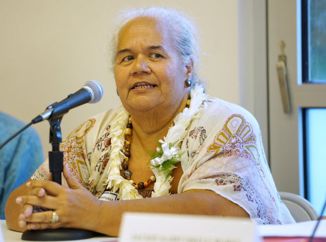 OHA Candidate Leone Kalima speaks during forum held at the Windward Community College campus.