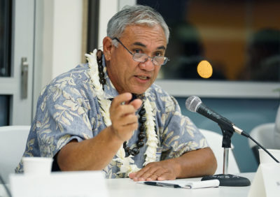 OHA Candidate William Aila during forum held at the Windward Community College.