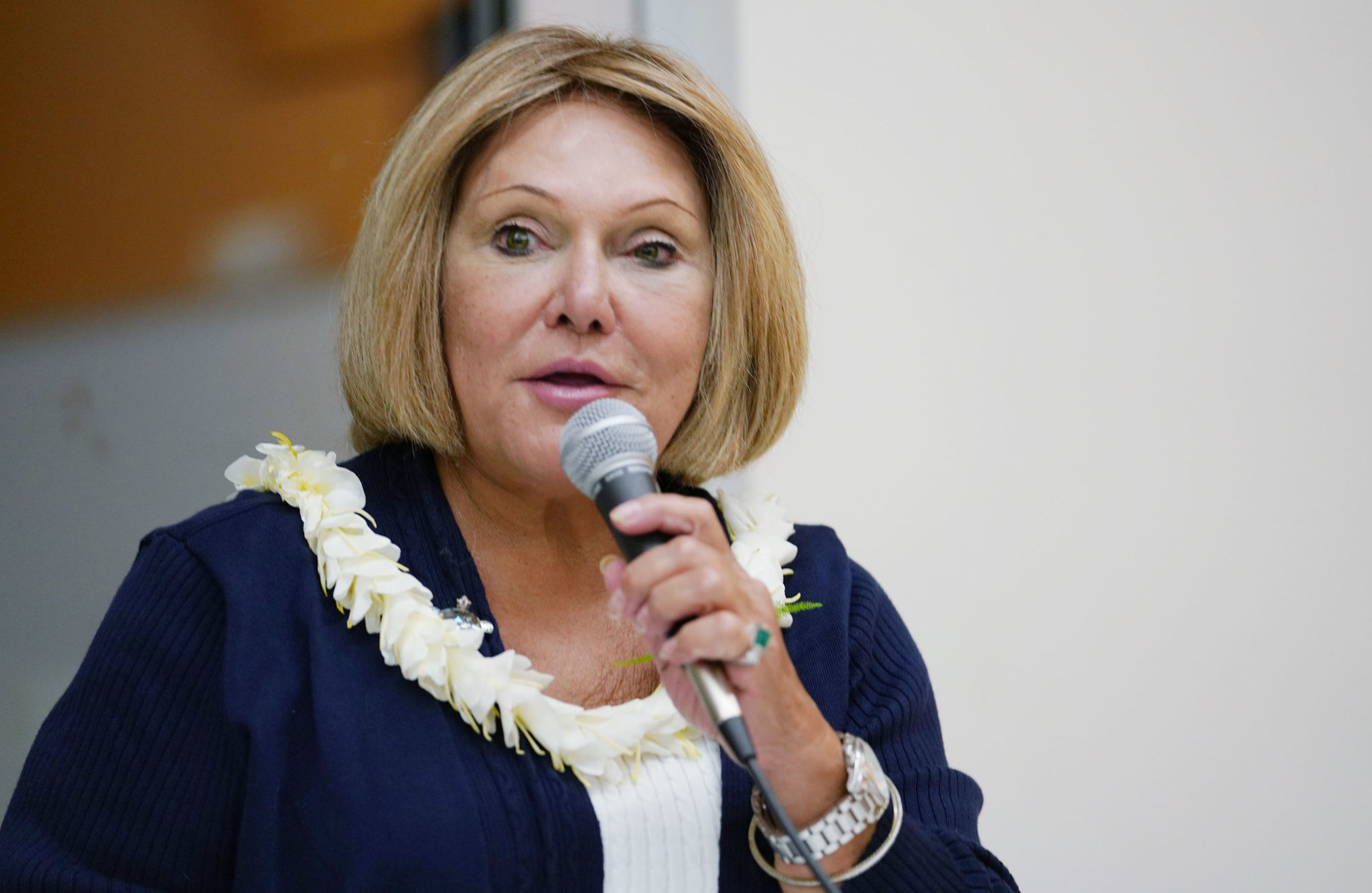 OHA Trustee Rowena Akana OHA candidate forum held at Windward Community College.