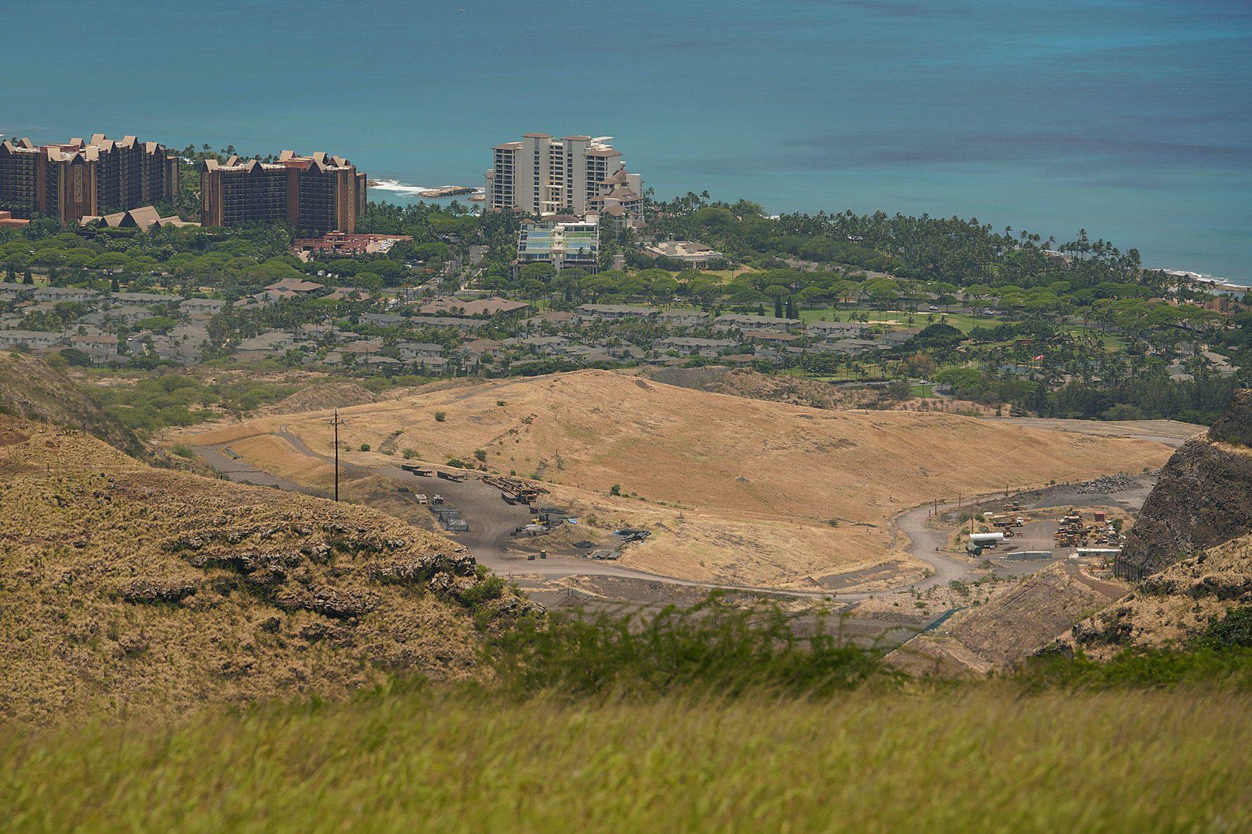 Waimanalo Gulch Waste Management Landfill located mauka of Disney Aulani and Koolina Ihilani. Waianae.