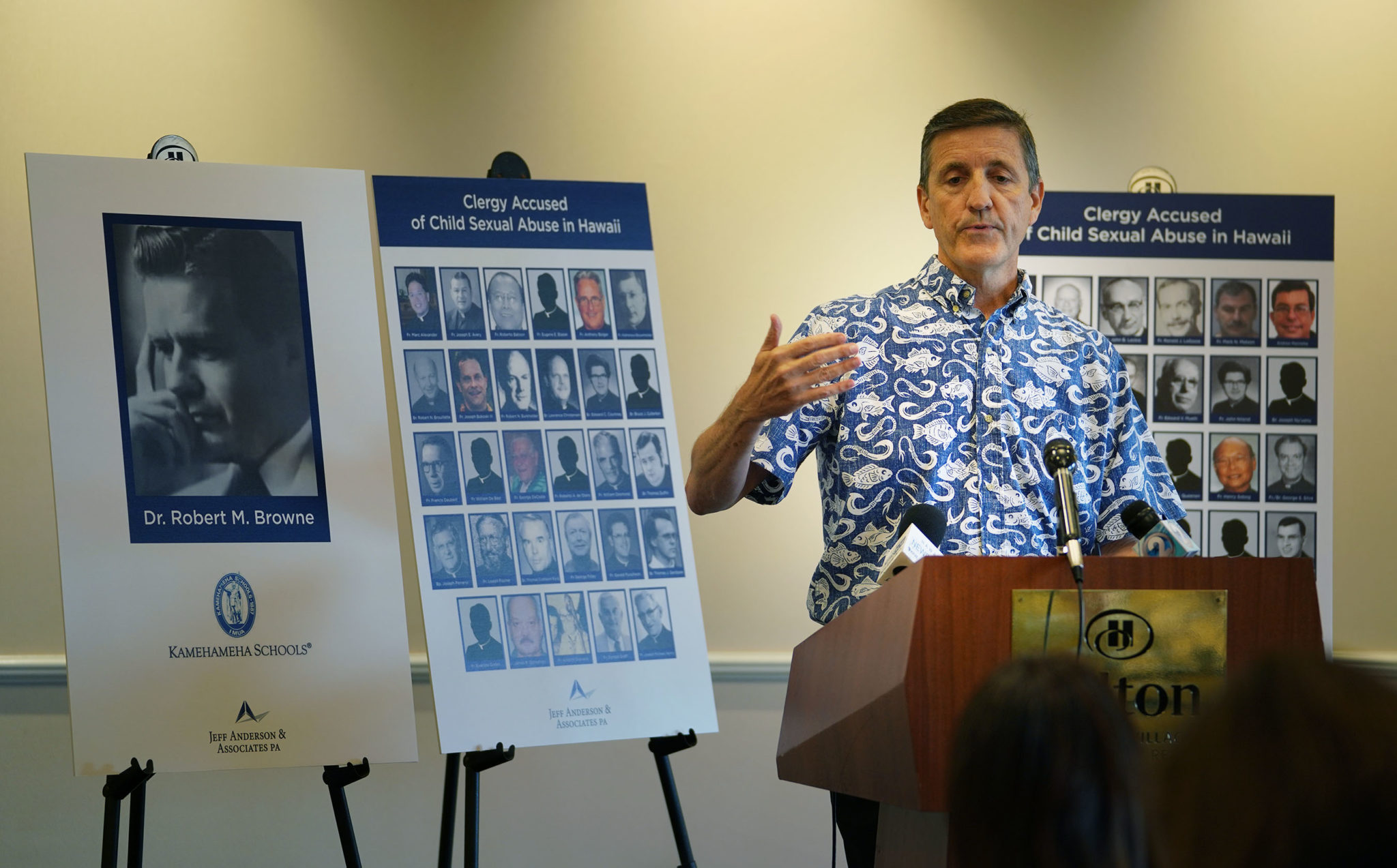 Attorney Mark Gallagher sex abuse press conference held at the HIlton Hawaiian Village.