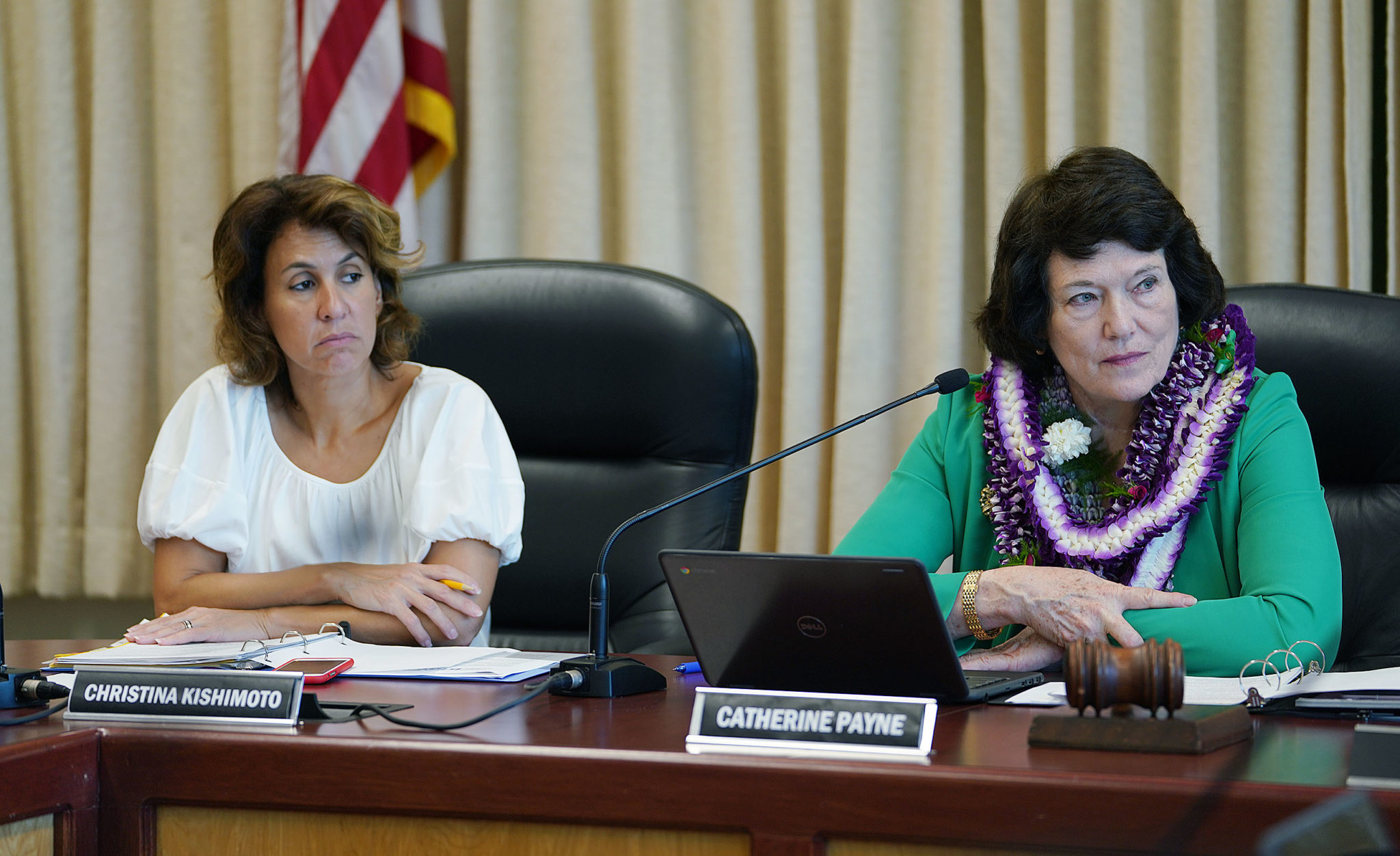 Education Superintendent Christina Kishimoto and right, Catherine Payne during Board of Education meeting.