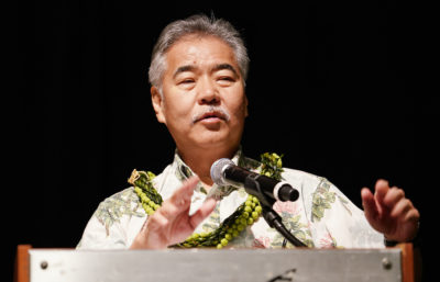 Gov David Ige gestures Nature conservation gubernatorial forum held at the Hawaii Convention Center.