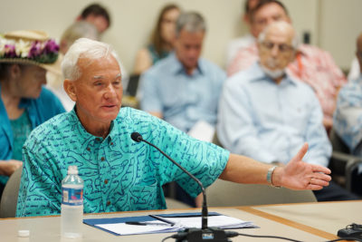Mayor Caldwell testifies during HART meeting held at Kapolei Hale.