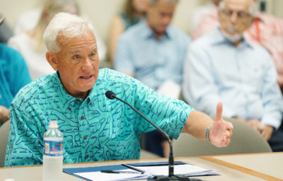 Mayor Caldwell testifies at HART meeting held at Kapolei Hale.