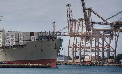 Honolulu Harbor Matson Shipping with container ship Matsonia. Preparedness.