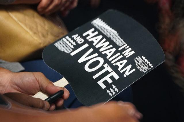 I Am Hawaiian and I vote sign Kamehameha Schools Super Debate.