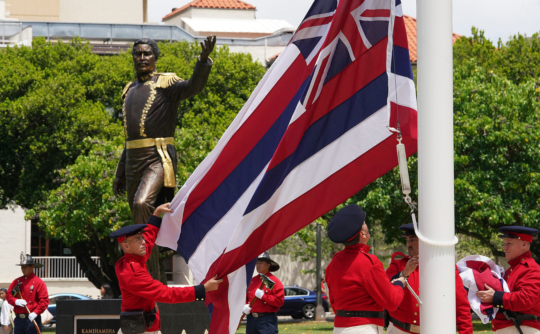 <p>The dedication ceremony included a re-enactment of the lowering of the British flag and the raising of the Hawaiian flag by members of the Hawaii Civil War Round Table.</p>