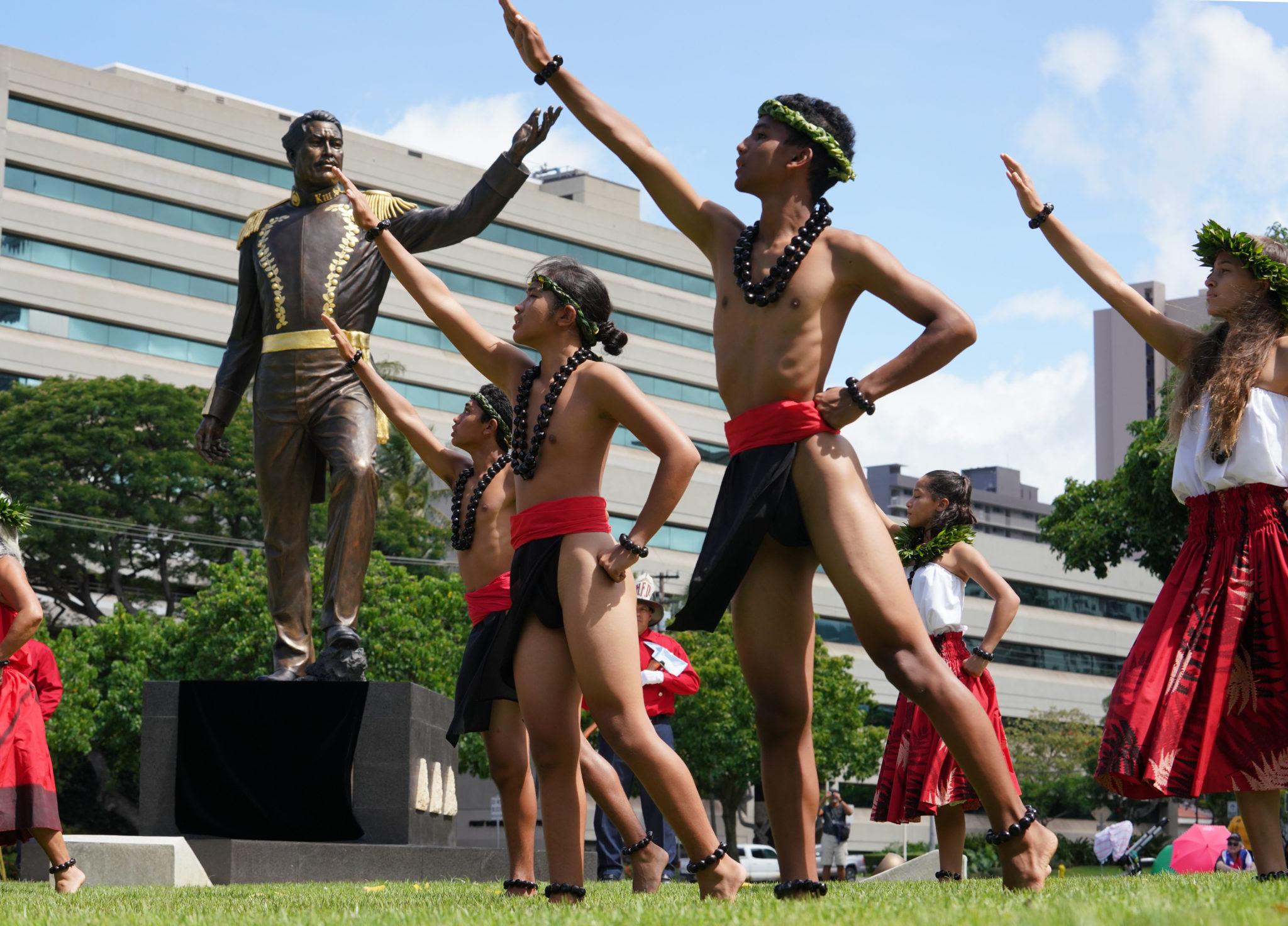 <p>Dancers from Na Pualei O Likolehua under the direction of Kumu Hula Niuli'i Heine perform during the dedication.</p>
