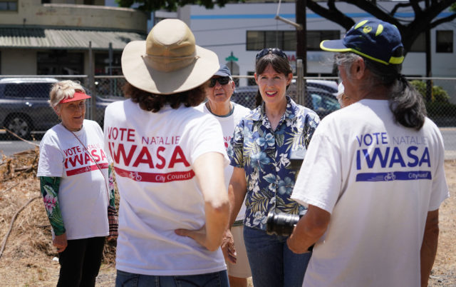 Candidate Natalie Iwasa's campaign cleanup of a property along Kapahulu Ave /Winam Street.