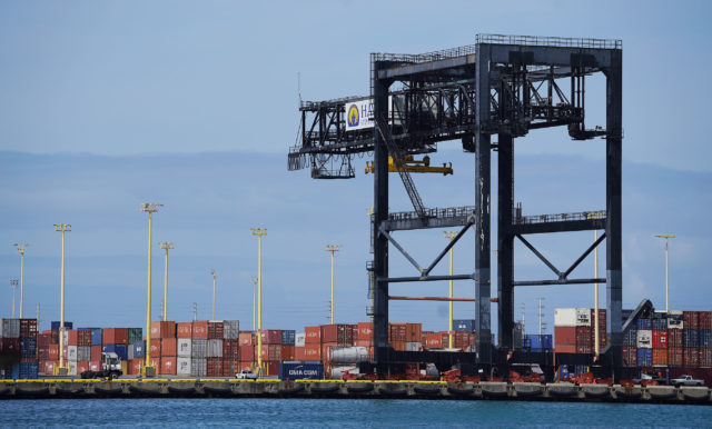 Sand Island Matson containers with large crane. Preparedness