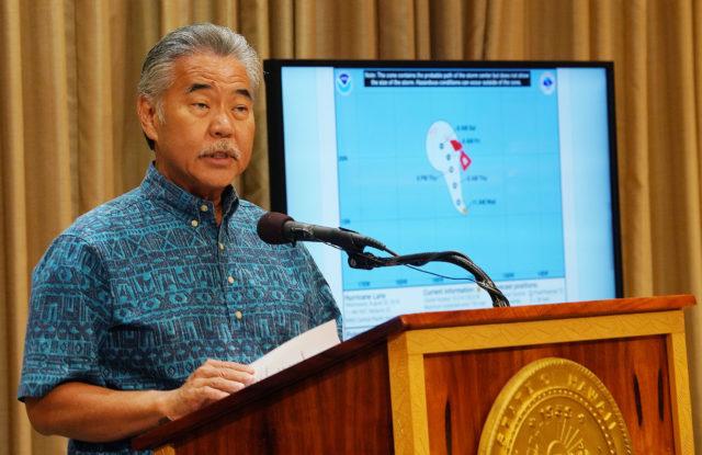 Governor David Ige Hurricane Lane press conference.