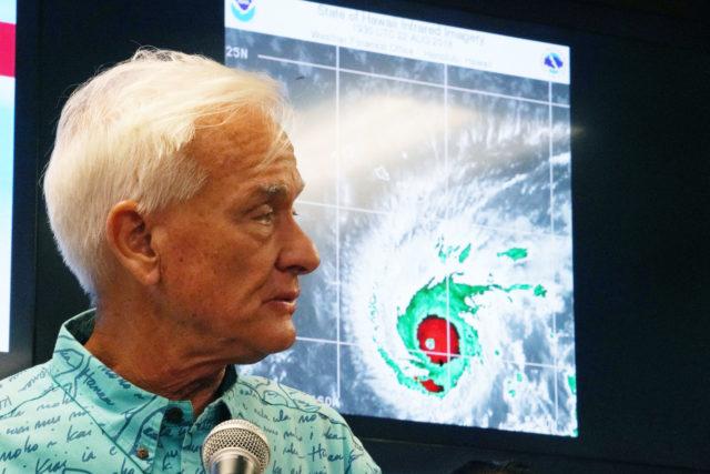 Mayor Kirk Caldwell Hurricane Lane press conference at the Fasi Building basement.
