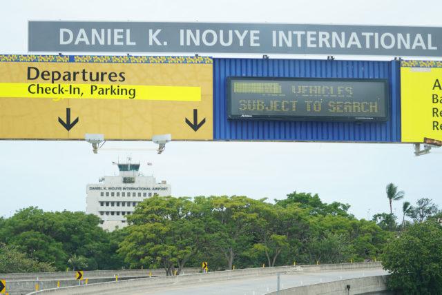 Daniel K Inouye International airport sign.