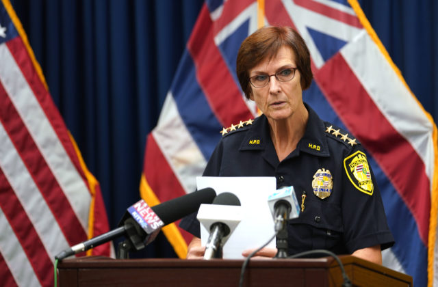 Honolulu Police Dept Chief Susan Ballard during stolen subsidized HPD vehicle press conference.