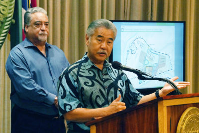 Governor David Ige with Director of Public Safety Nolad Espinda at press conference