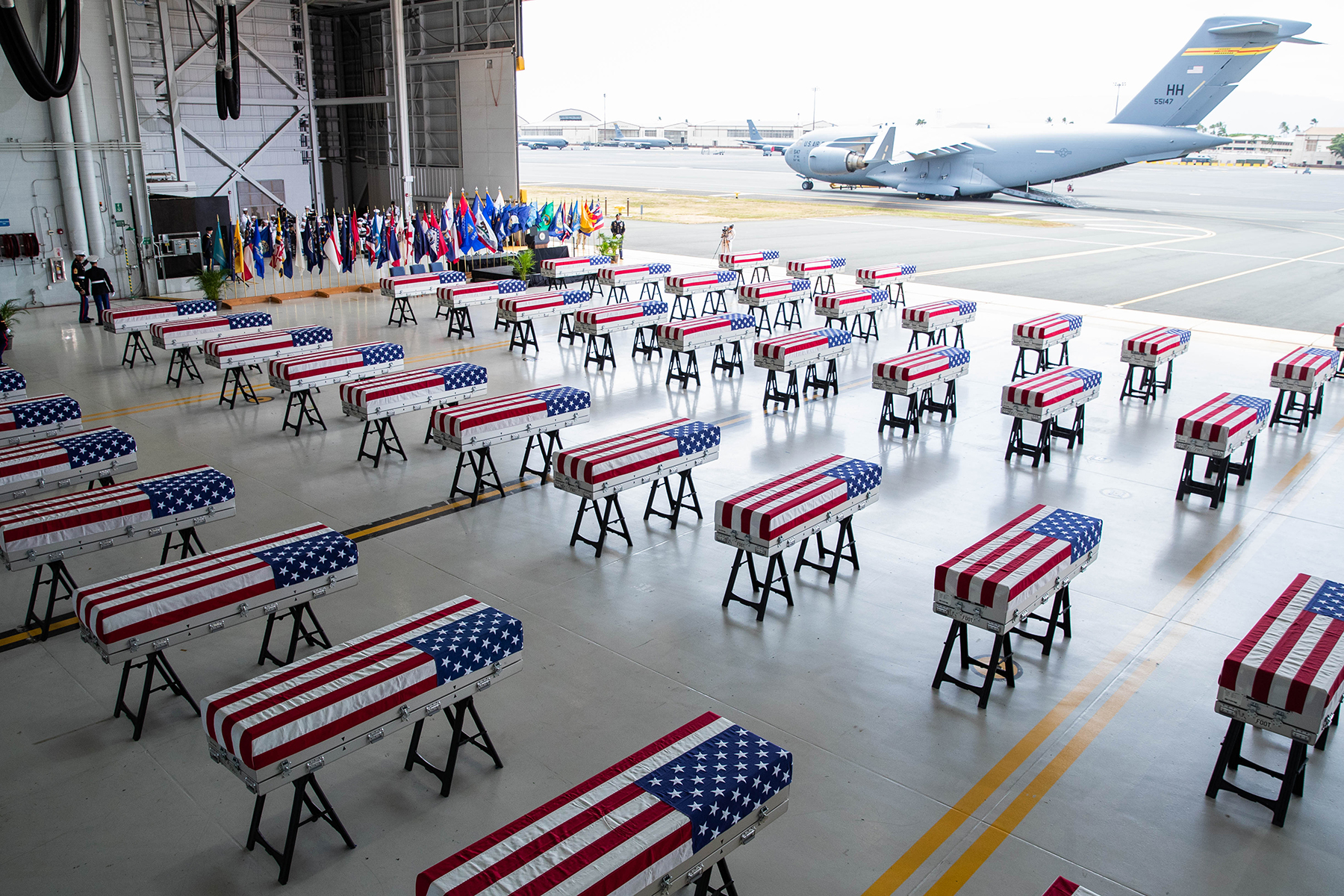 <p><strong>REPATRIATION:</strong> Fifty-five cases of remains — presumed to be U.S. soldiers killed in the Korean War — arrived from North Korea at Joint Base Pearl Harbor-Hickam Aug. 1. Work to identify the remains began almost immediately. / Anthony Quintano</p>