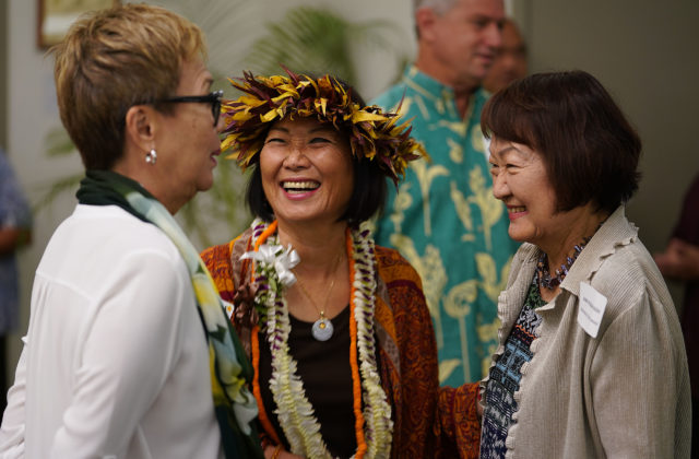 Center Sharon Moriwaki beat incumbent Brickwood Galluteriaa chats with left Carolyn Tanaka and right, Council member Ann Kobayashi at the Democrats Unity Breakfast held at the Dole Cannery Ballroom. 12 aug 2018