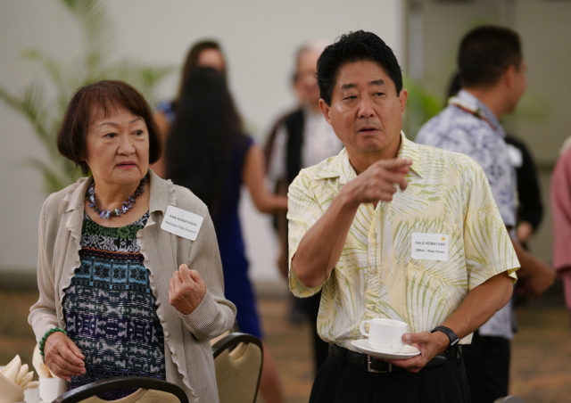 Dale Kobayashi and left mom Honolulu City Council member Ann Kobayashi at the Democrats Unity Breakfast held at the Dole Cannery Ballroom.