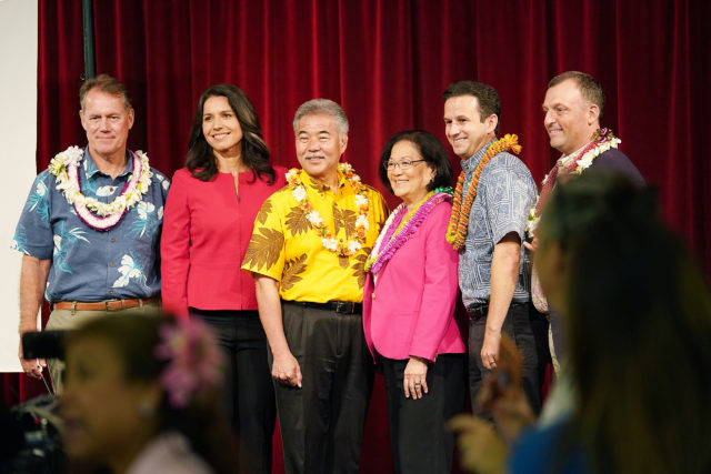 Democrats Unity Breakfast with left, CD1 candidate Ed Case, Congresswoman Tulsi Gabbard, Governor David Ige, Senator Mazie Hirono, Senator Brian Schatz and right, LG candidate Josh Green at the Dole Cannery Ballroom.