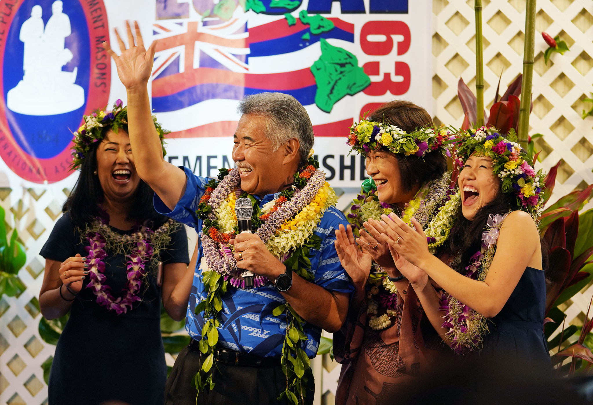 <p><strong>POLITICAL COMEBACK:</strong> Gov. David Ige was significantly behind his challenger, Congresswoman Colleen Hanabusa, earlier in the year but rebounded after helping to manage the disasters on Kauai and the Big Island. He celebrated with his family after winning the Democratic primary Aug. 11, and won re-election in November. / Cory Lum</p>