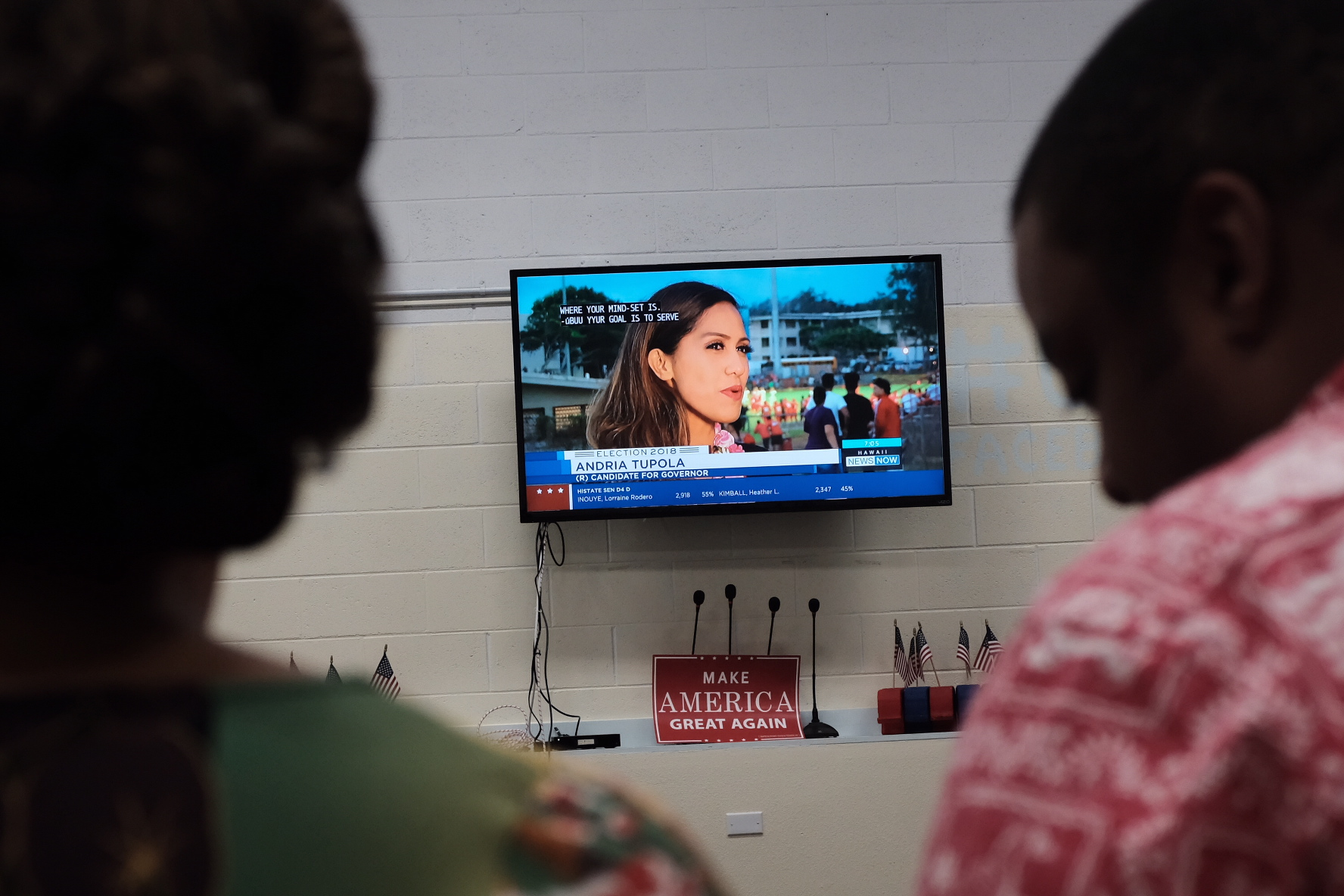<p>State Rep. Andria Tupola spent Saturday night at a high school football game as she was winning the Republican gubernatorial nomination. Hawaii GOP chair Shirlene Ostrov, left and executive director Aaron Wilson watch from party headquarters as Tupola gives a TV interview.</p>