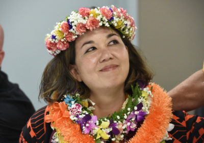 Jill Tokuda at the party headquarters Saturday night August 11, 2018. (Civilbeat photo by Ronen Zilberman)