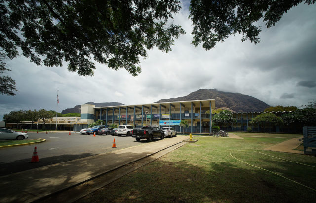 Makaha Elementary School with Waianae Mountains in the background.