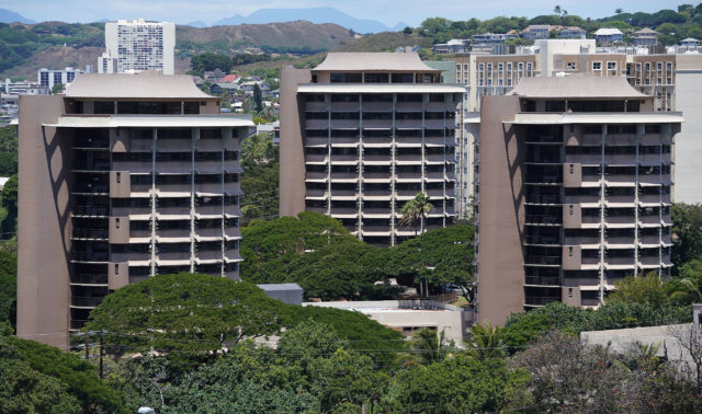 UH Manoa Hale Aloha dorms. Ed note. missing 1 building, out of frame.