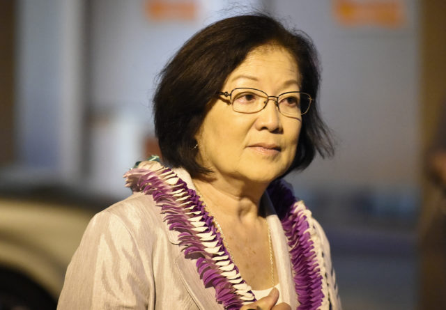 US Senator Mazie Hirono outside her headquarters Saturday night August 11, 2018. (Civilbeat photo by Ronen Zilberman)