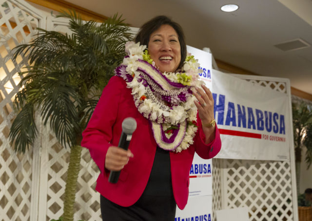 Hawaii Democratic Gubernatorial candidate Colleen Hanabusa is greeted by her supporters at her election night headquarters in the Japanese Cultural Center, Saturday, Aug. 11, 2018, in Honolulu.