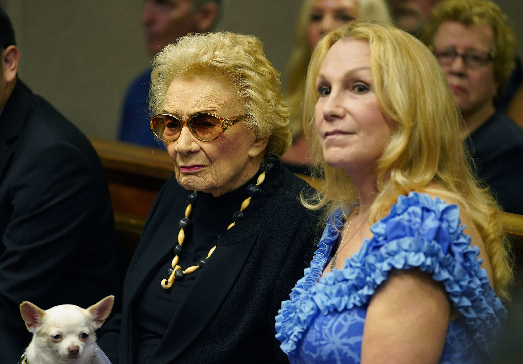<p><strong>LEGAL BATTLE:</strong> Hawaiian heiress Abigail Kawananakoa, 92, with her wife, Veronica Worth, and her Chihuahua during a court hearing in September. They remain locked in a legal dispute over what will happen with Kawananakoa's $215 million trust and the fate of a foundation she set up to benefit Hawaiian causes. / Cory Lum</p>