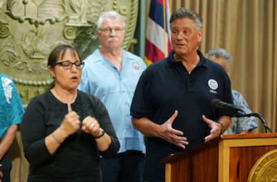 Dolph Diemont FEMA speaks about being prepared for Hurricane Olivia at Governor Ige's press conference.