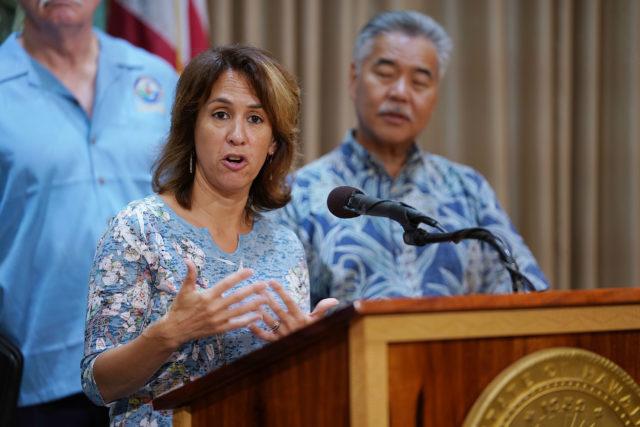 Education Superintendent Christina Kishimoto Hurricane Olivia press conference.