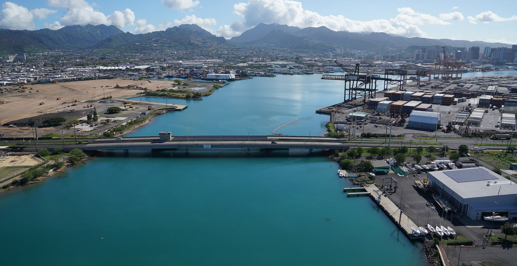 Pasha Hawaii container shipping Sand Island Bridge.