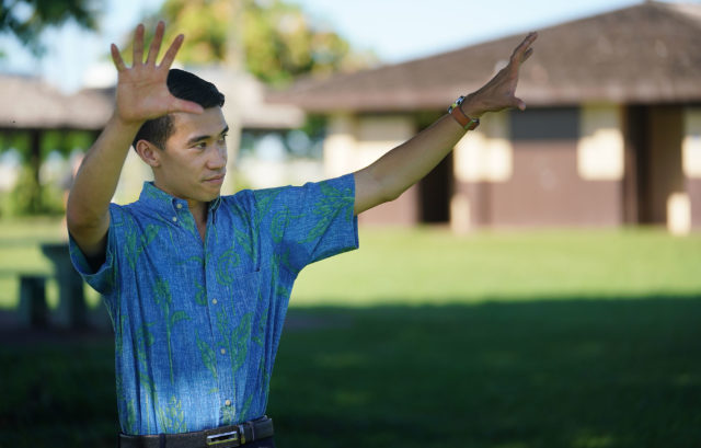 Honolulu City Council member Brandon Elefante gestures while speaking to reporter at Neal Blaisdell park.