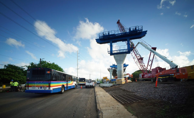 HART Rail Guideway being built near Aloha Stadium.