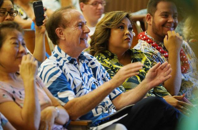 Rep Gene Ward and right Shirlene Ostrov at Charlie Kirk talk UH Manoa.