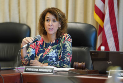 Education Superintendent Christina Kishimoto speaks during DOE board meeting.