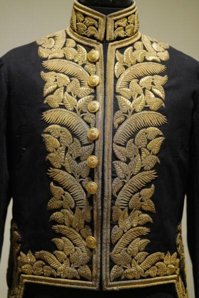 Pau riders Honolulu Museum Art King David Kalakaua uniform with incorporated Hawaiian motifs.