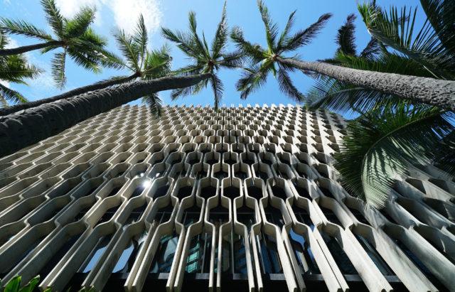 IBM Building facade coconut trees1.
