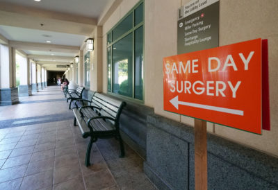 Queens Hospital Same Day Surgery sign.