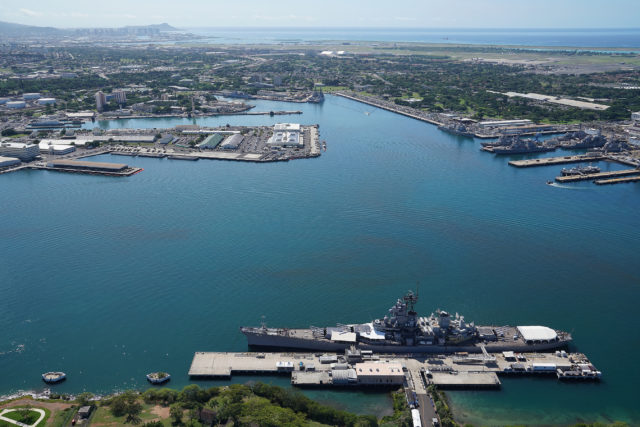 Joint Base Hickam Pearl Harbor USS MIssouri aerial.