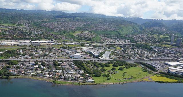 Pearl Kai Pearl Harbor Pearl City industrial aerial HART Rail Kamemeha Hwy Blaisdell Park1.