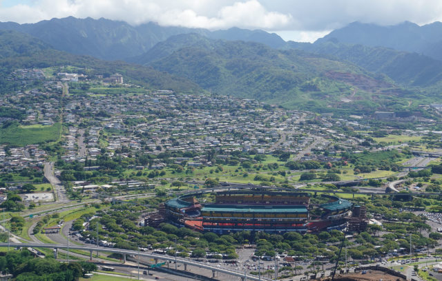 Aloha Stadium aerial Aiea .
